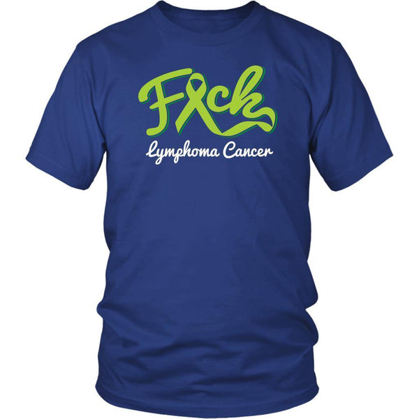F*ck Lymphoma Awareness Lime Green Ribbon Awesome Cool Gift Ideas TShirt-T-shirt-District Unisex Shirt-Royal Blue-JoyHip.Com