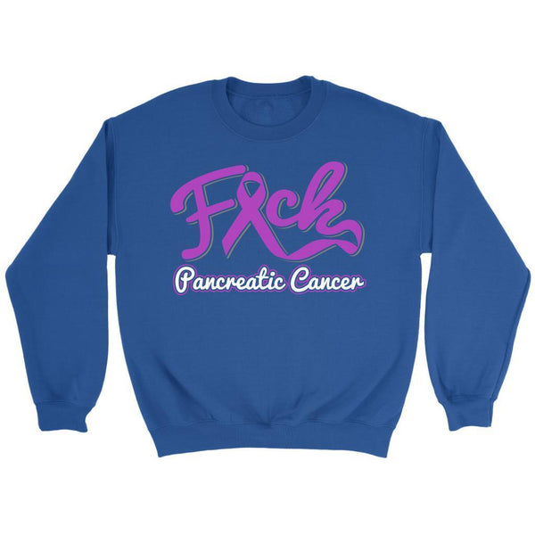 F*ck Pancreatic Cancer Awareness Purple Ribbon Awesome Cool Gift Ideas Sweater-T-shirt-Crewneck Sweatshirt-Royal Blue-JoyHip.Com