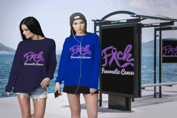 F*ck Pancreatic Cancer Awareness Purple Ribbon Awesome Cool Gift Ideas Sweater-T-shirt-JoyHip.Com