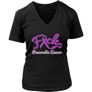 F*ck Pancreatic Cancer Awareness Purple Ribbon Awesome Cool Gift VNeck TShirt-T-shirt-District Womens V-Neck-Black-JoyHip.Com