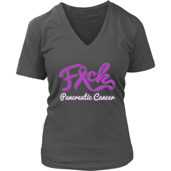 F*ck Pancreatic Cancer Awareness Purple Ribbon Awesome Cool Gift VNeck TShirt-T-shirt-District Womens V-Neck-Grey-JoyHip.Com
