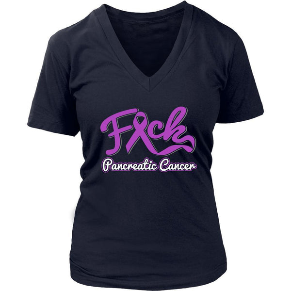F*ck Pancreatic Cancer Awareness Purple Ribbon Awesome Cool Gift VNeck TShirt-T-shirt-District Womens V-Neck-Navy-JoyHip.Com