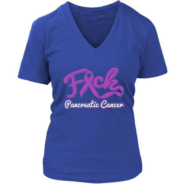 F*ck Pancreatic Cancer Awareness Purple Ribbon Awesome Cool Gift VNeck TShirt-T-shirt-District Womens V-Neck-Royal Blue-JoyHip.Com
