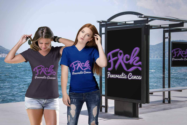 F*ck Pancreatic Cancer Awareness Purple Ribbon Awesome Cool Gift VNeck TShirt-T-shirt-JoyHip.Com