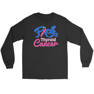 F*ck Thyroid Cancer Awareness Teal Pink & Blue Ribbon Awesome Gift Long Sleeve-T-shirt-Gildan Long Sleeve Tee-Black-JoyHip.Com