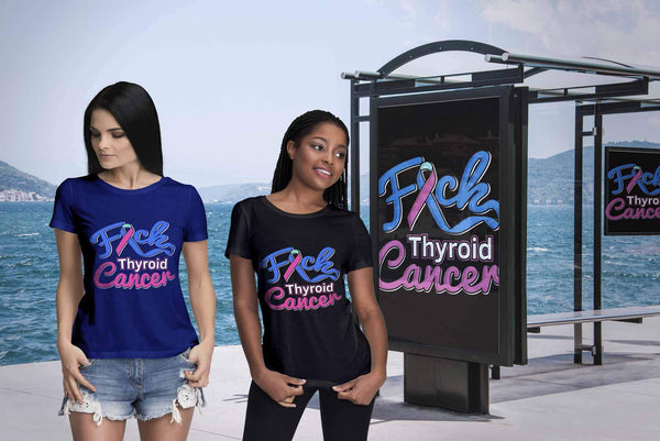 F*ck Thyroid Cancer Awareness Teal Pink & Blue Ribbon Awesome Gift Women TShirt-T-shirt-JoyHip.Com