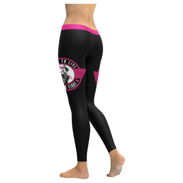 Fight To Live Live To Fight Biker Chain Breast Cancer Pink Ribbon Women Leggings-JoyHip.Com