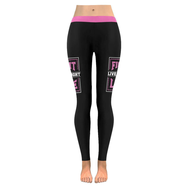 Fight To Live Live To Fight Breast Cancer Awareness Pink Ribbon Womens Leggings-JoyHip.Com