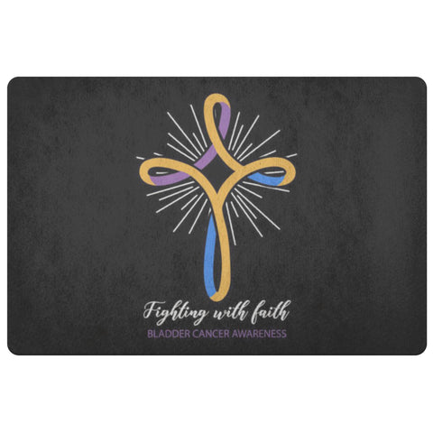 Fighting With Faith Bladder Cancer 18X26 Thin Indoor Door Mat Ourdoor Entry Rug-Doormat-Black-JoyHip.Com