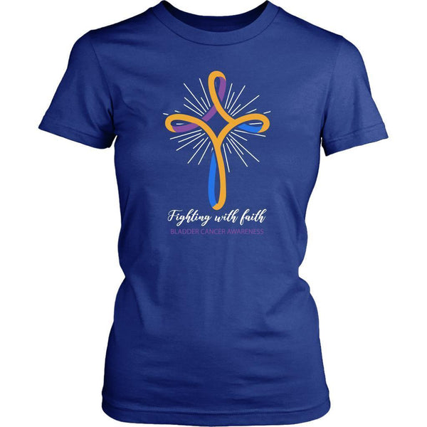 Fighting With Faith Bladder Cancer Awareness Awesome Cool Gift Idea Women TShirt-T-shirt-District Womens Shirt-Royal Blue-JoyHip.Com