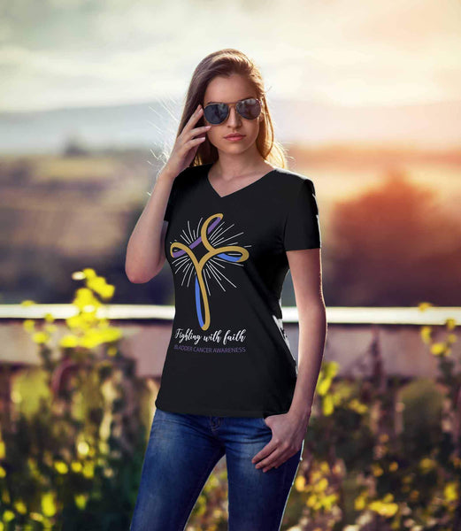 Fighting With Faith Bladder Cancer Awareness Awesome Cool Gift Idea Women TShirt-T-shirt-JoyHip.Com