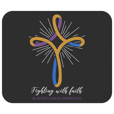 Fighting With Faith Bladder Cancer Awareness Gifts For Chemo Patients Mouse Pad-Mousepads-Black-JoyHip.Com