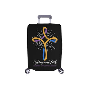 Fighting With Faith Bladder Cancer Awareness Travel Luggage Cover Protector Gift-S-Black-JoyHip.Com
