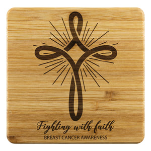 Fighting With Faith Breast Cancer Awareness Drink Coasters Set Gifts Idea-Coasters-Bamboo Coaster - 4pc-JoyHip.Com