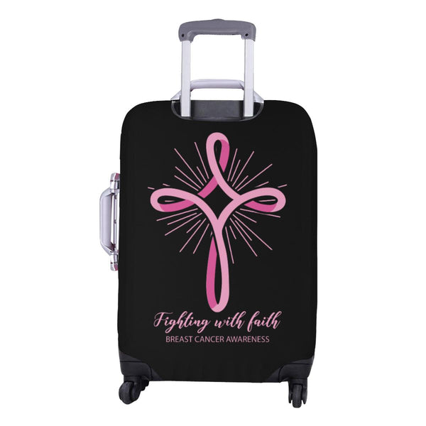 Fighting With Faith Breast Cancer Awareness Travel Luggage Cover Protector Gifts-JoyHip.Com