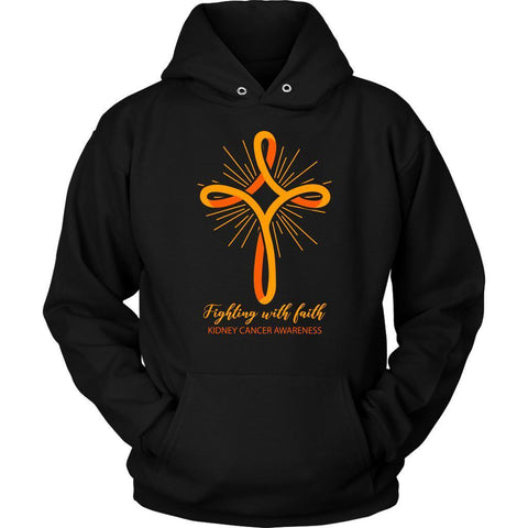 Fighting With Faith Kidney Cancer Awareness Awesome Cool Gift Ideas Hoodie-T-shirt-Unisex Hoodie-Black-JoyHip.Com