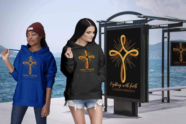Fighting With Faith Leukemia Awareness Awesome Cool Unisex Hoodie-T-shirt-JoyHip.Com