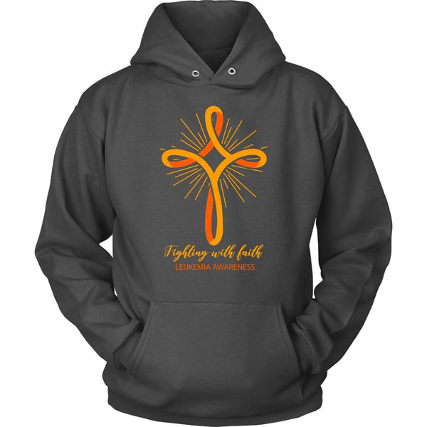 Fighting With Faith Leukemia Awareness Awesome Cool Unisex Hoodie-T-shirt-Unisex Hoodie-Grey-JoyHip.Com