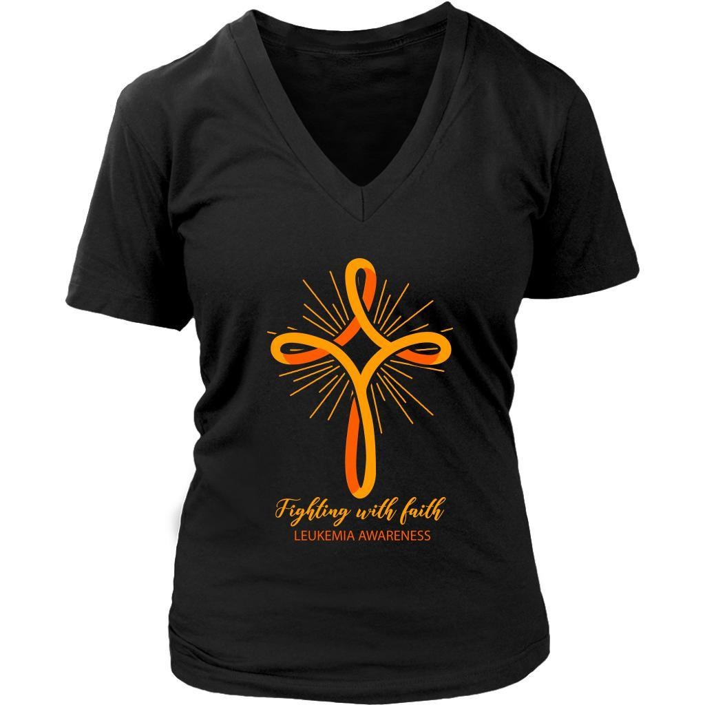Fighting With Faith Leukemia Awareness Awesome Cool Women VNeck Tee-T-shirt-District Womens V-Neck-Black-JoyHip.Com