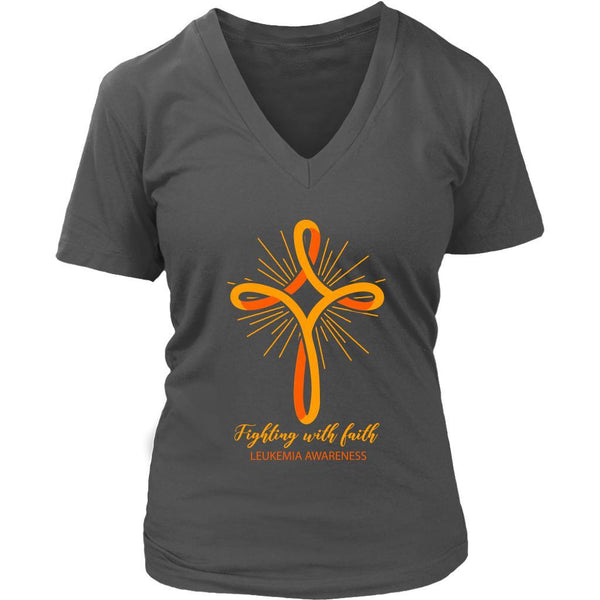 Fighting With Faith Leukemia Awareness Awesome Cool Women VNeck Tee-T-shirt-District Womens V-Neck-Grey-JoyHip.Com