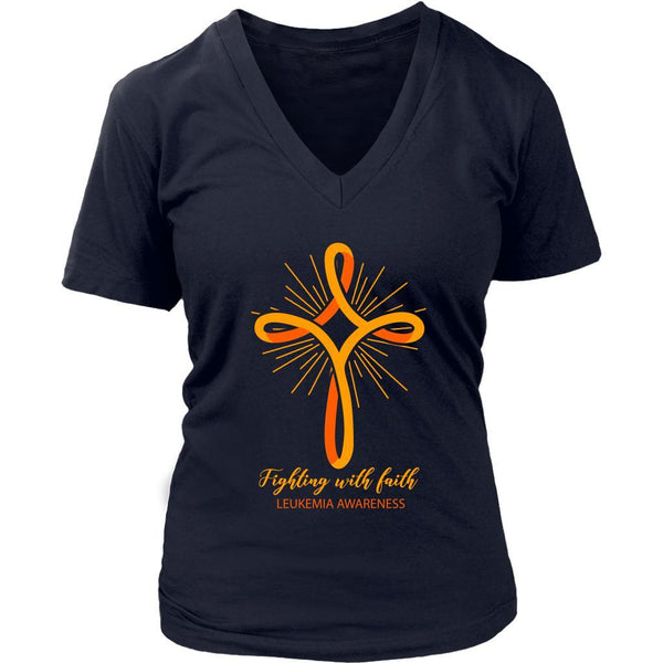 Fighting With Faith Leukemia Awareness Awesome Cool Women VNeck Tee-T-shirt-District Womens V-Neck-Navy-JoyHip.Com