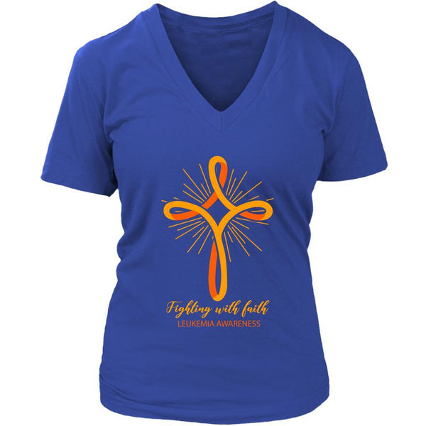 Fighting With Faith Leukemia Awareness Awesome Cool Women VNeck Tee-T-shirt-District Womens V-Neck-Royal Blue-JoyHip.Com