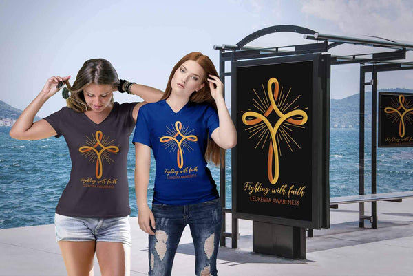 Fighting With Faith Leukemia Awareness Awesome Cool Women VNeck Tee-T-shirt-JoyHip.Com