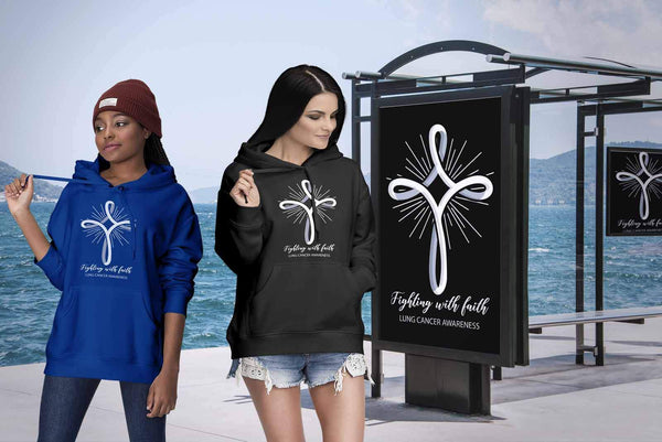 Fighting With Faith Lung Cancer Awareness Awesome Cool Gift Ideas Hoodie-T-shirt-JoyHip.Com