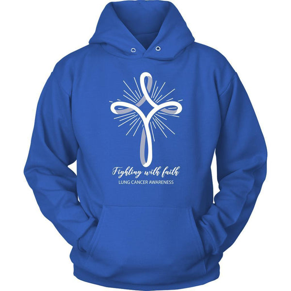 Fighting With Faith Lung Cancer Awareness Awesome Cool Gift Ideas Hoodie-T-shirt-Unisex Hoodie-Royal Blue-JoyHip.Com