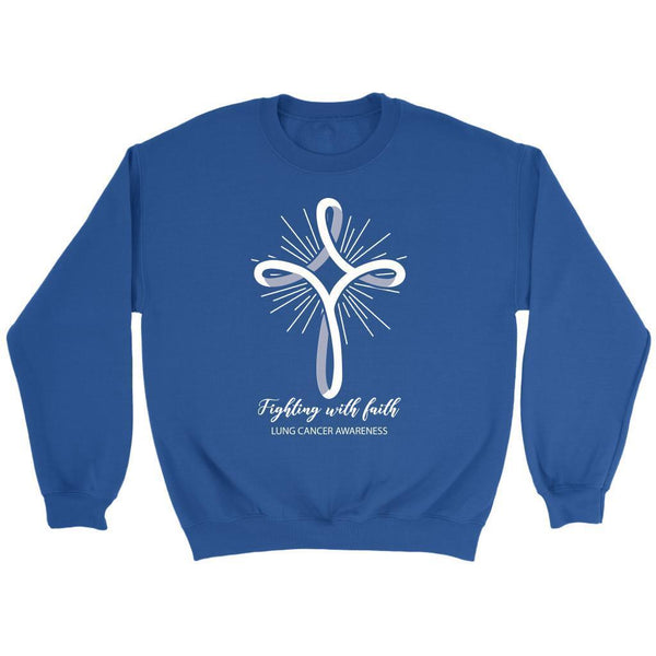 Fighting With Faith Lung Cancer Awareness Awesome Cool Gift Ideas Sweater-T-shirt-Crewneck Sweatshirt-Royal Blue-JoyHip.Com