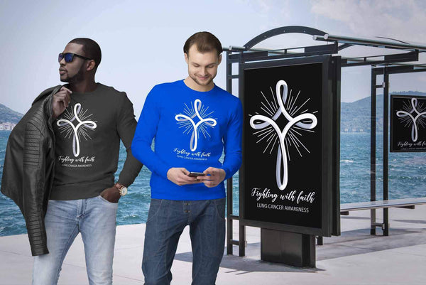 Fighting With Faith Lung Cancer Awareness Awesome Cool Gift Ideas Sweater-T-shirt-JoyHip.Com