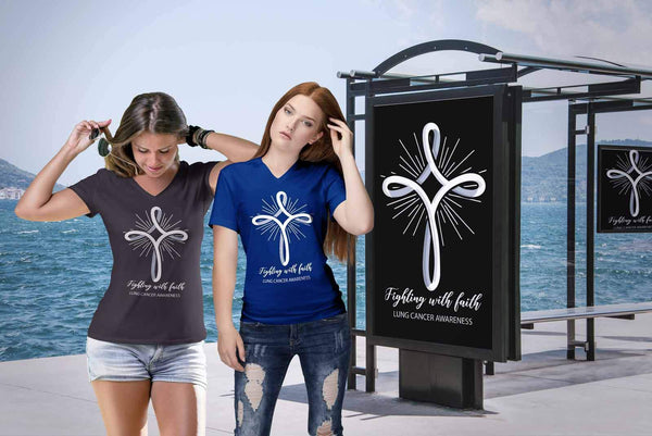 Fighting With Faith Lung Cancer Awareness Awesome Gift Ideas Women TShirt-T-shirt-JoyHip.Com
