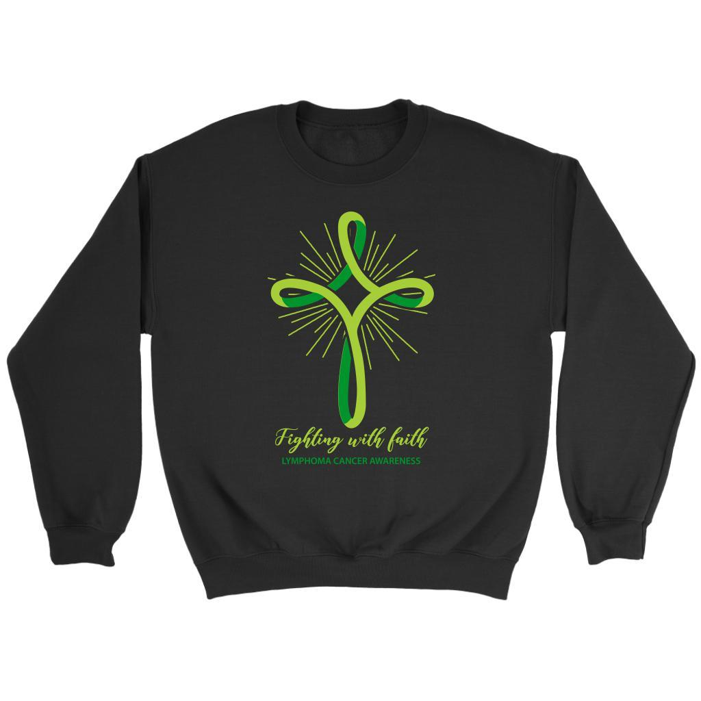 Fighting With Faith Lymphoma Awareness Awesome Cool Gift Ideas Sweater-T-shirt-Crewneck Sweatshirt-Black-JoyHip.Com