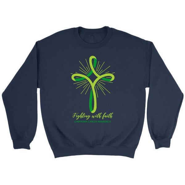 Fighting With Faith Lymphoma Awareness Awesome Cool Gift Ideas Sweater-T-shirt-Crewneck Sweatshirt-Navy-JoyHip.Com