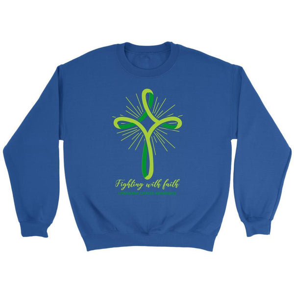 Fighting With Faith Lymphoma Awareness Awesome Cool Gift Ideas Sweater-T-shirt-Crewneck Sweatshirt-Royal Blue-JoyHip.Com