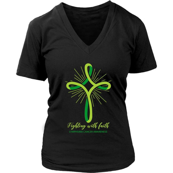Fighting With Faith Lymphoma Awareness Awesome Cool Gift Ideas VNeck TShirt-T-shirt-District Womens V-Neck-Black-JoyHip.Com
