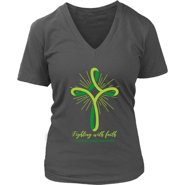Fighting With Faith Lymphoma Awareness Awesome Cool Gift Ideas VNeck TShirt-T-shirt-District Womens V-Neck-Grey-JoyHip.Com