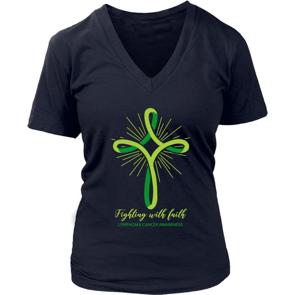 Fighting With Faith Lymphoma Awareness Awesome Cool Gift Ideas VNeck TShirt-T-shirt-District Womens V-Neck-Navy-JoyHip.Com