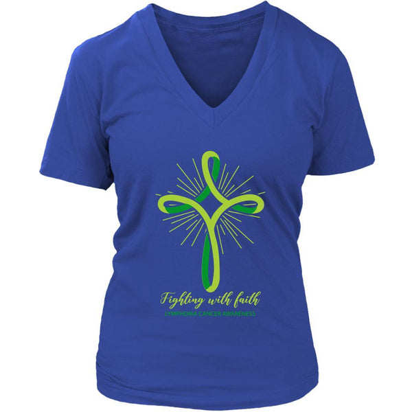 Fighting With Faith Lymphoma Awareness Awesome Cool Gift Ideas VNeck TShirt-T-shirt-District Womens V-Neck-Royal Blue-JoyHip.Com