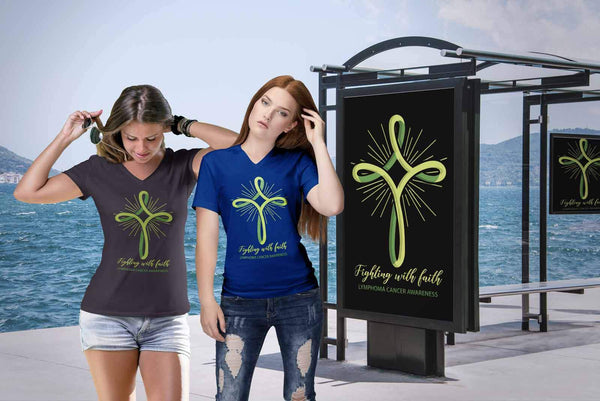 Fighting With Faith Lymphoma Awareness Awesome Cool Gift Ideas VNeck TShirt-T-shirt-JoyHip.Com