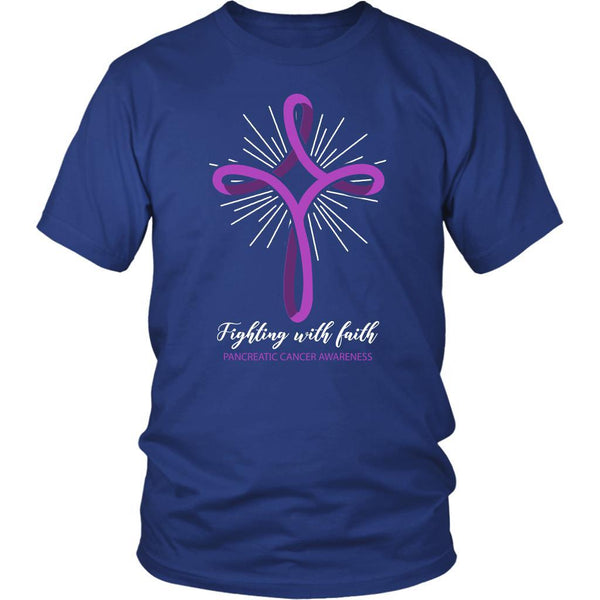 Fighting With Faith Pancreatic Cancer Awareness Awesome Cool Gift Ideas TShirt-T-shirt-District Unisex Shirt-Royal Blue-JoyHip.Com