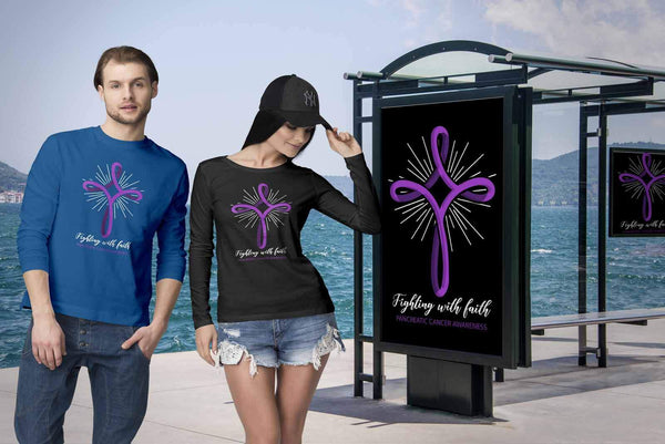 Fighting With Faith Pancreatic Cancer Awareness Awesome Gift Ideas Long Sleeve-T-shirt-JoyHip.Com