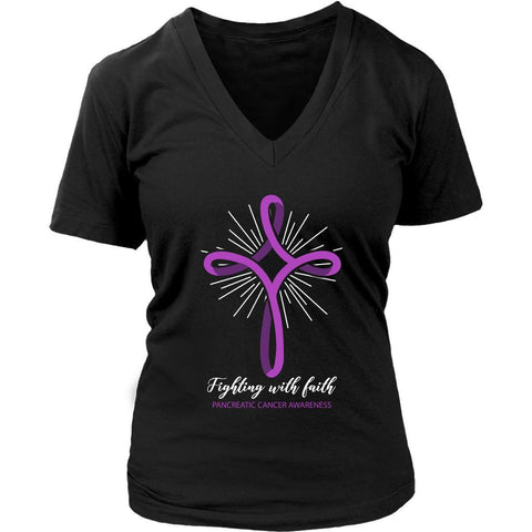 Fighting With Faith Pancreatic Cancer Awareness Awesome Gift Ideas VNeck TShirt-T-shirt-District Womens V-Neck-Black-JoyHip.Com