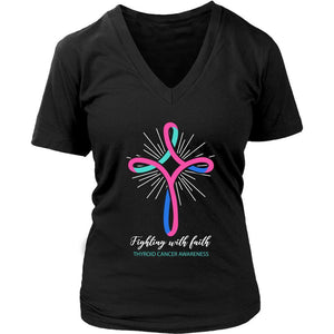 Fighting With Faith Thyroid Cancer Awareness Awesome Cool Gift Idea VNeck TShirt-T-shirt-District Womens V-Neck-Black-JoyHip.Com