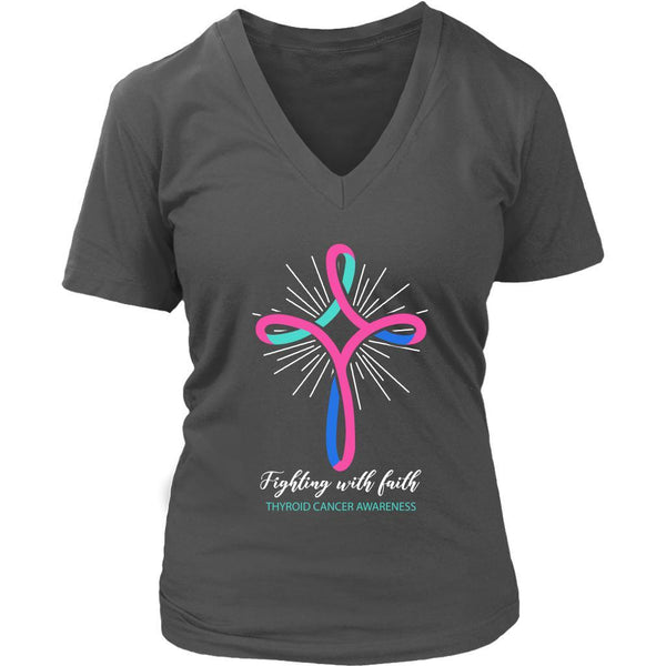 Fighting With Faith Thyroid Cancer Awareness Awesome Cool Gift Idea VNeck TShirt-T-shirt-District Womens V-Neck-Grey-JoyHip.Com