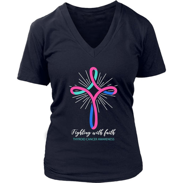 Fighting With Faith Thyroid Cancer Awareness Awesome Cool Gift Idea VNeck TShirt-T-shirt-District Womens V-Neck-Navy-JoyHip.Com