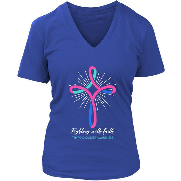Fighting With Faith Thyroid Cancer Awareness Awesome Cool Gift Idea VNeck TShirt-T-shirt-District Womens V-Neck-Royal Blue-JoyHip.Com