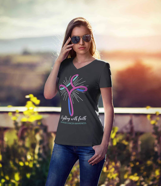 Fighting With Faith Thyroid Cancer Awareness Awesome Cool Gift Idea VNeck TShirt-T-shirt-JoyHip.Com