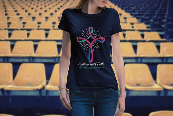 Fighting With Faith Thyroid Cancer Awareness Awesome Cool Gift Ideas TShirt-T-shirt-JoyHip.Com
