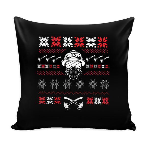 Firefighter Thin Red Line Funny Festive Ugly Christmas Holiday Sweater Decorative Throw Pillow Cases Cover(4 Colors)-Pillows-Black-JoyHip.Com